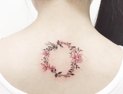 Floral Crescent moon tattoo on back