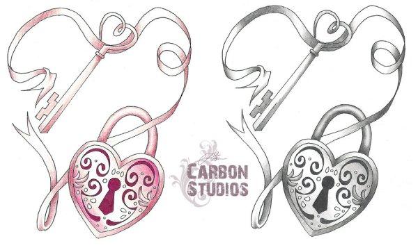 heart lock keys tattoo sketch