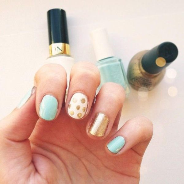 Mint, White and Gold Mani