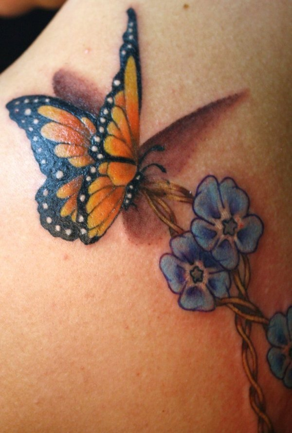 Tie knot with forget me not flowers and 3d butterfly tattoo