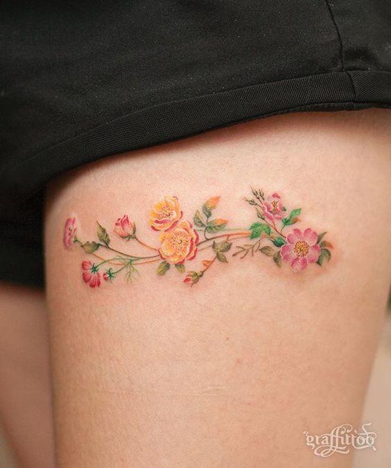aster flower tattoo