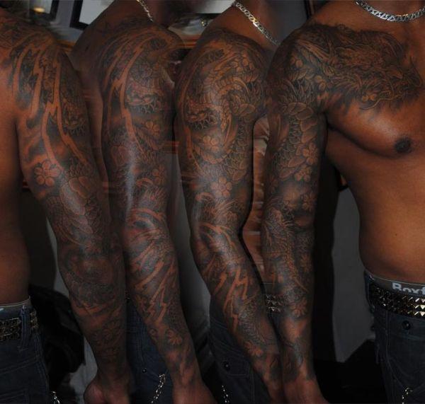 black men full sleeve tattoo