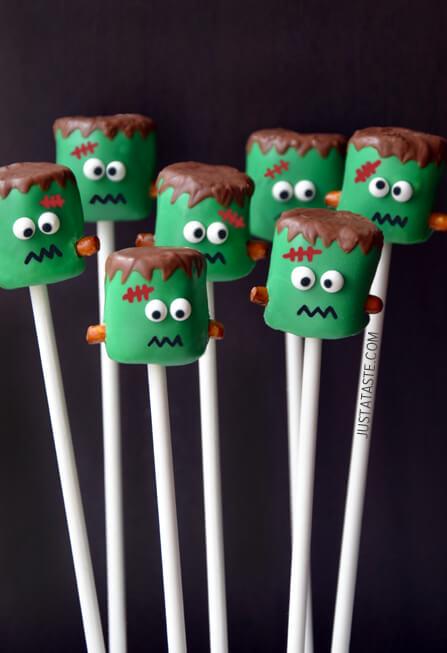 halloween frankenstein marshmallow pops recipe