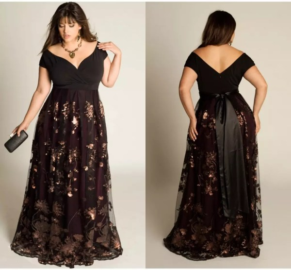 Long shimmery floral v neck gown plus size prom dress