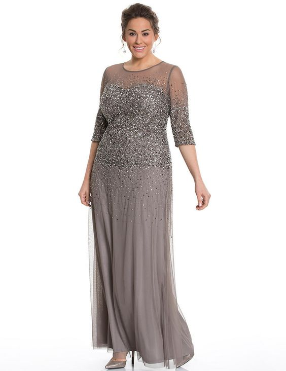 full length shimmery top and three quarter sleeves plus size prom dress