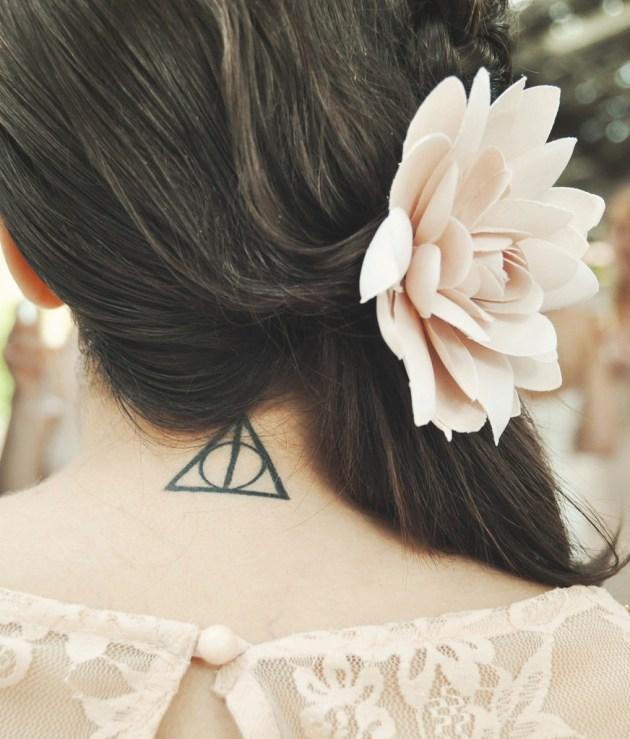 Deathly Hallows back neck girls Tattoo
