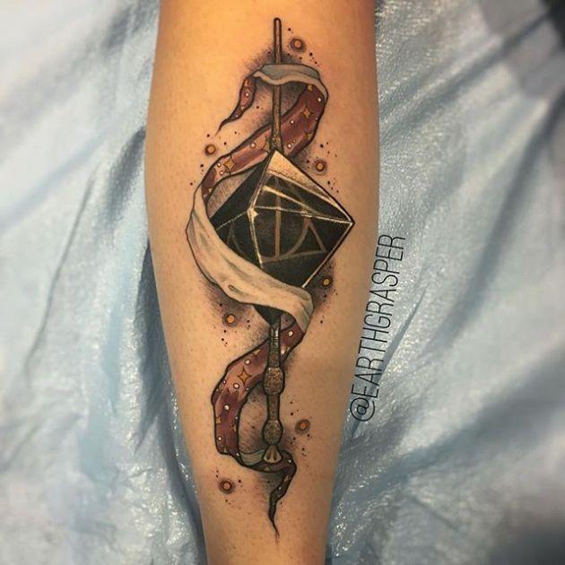 Deathly Hallows wizard tattoo design