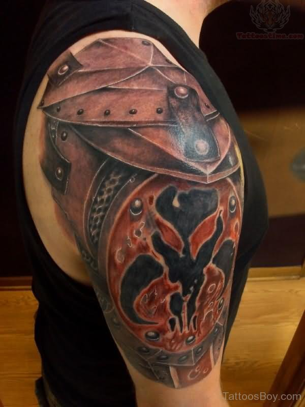 Stylish Armor Shoulder Tattoo for Men