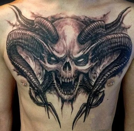 ghost skull chest tattoo design