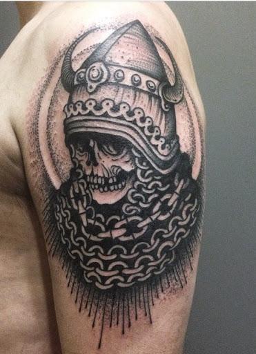 koh phi phi skull tattoo on half sleeve