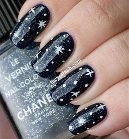 Black Winter Night Snow Scene Nails