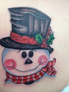 Christmas snowman face tattoo