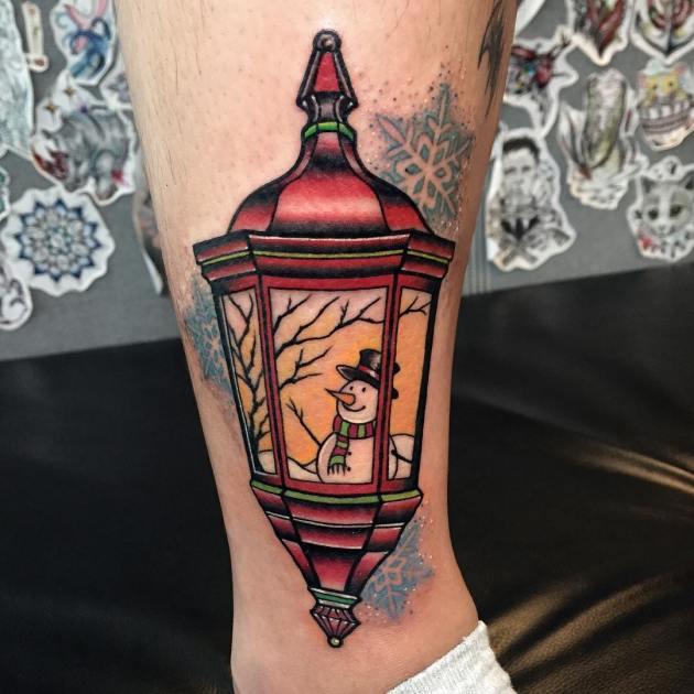 Snowman in Lantern tattoo