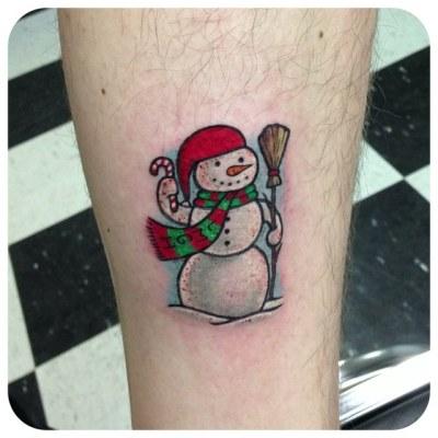 cute Christmas Snowman tattoo