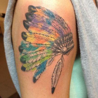 native american indian war headdress tattoo on sleeve