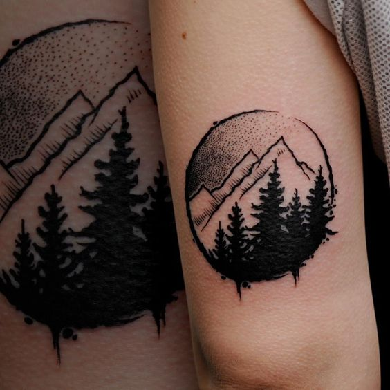black and white winter mountains tree tattoo