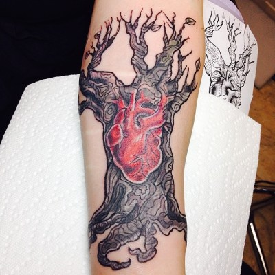 Heart and tree of life tattoos
