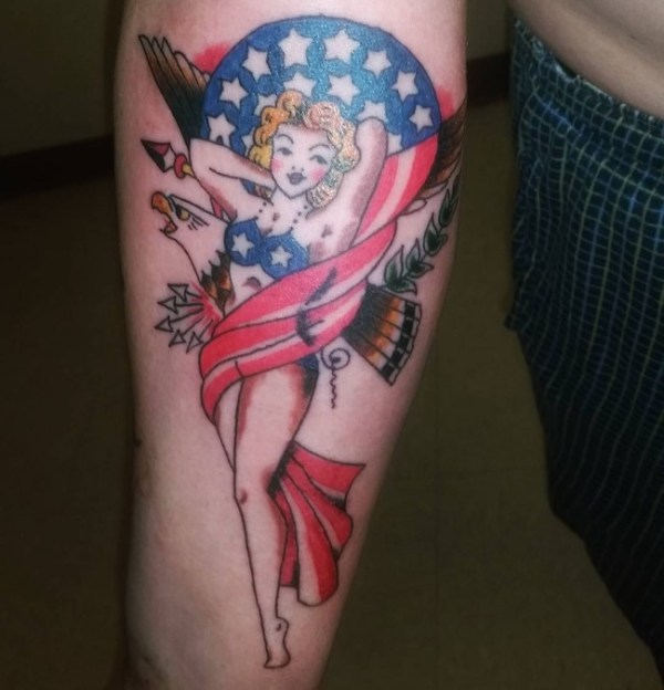 american flag pin up girl tattoo