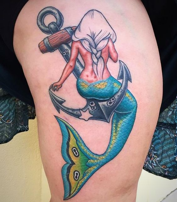 mermaid and anchor tattoo