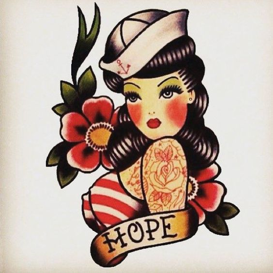 old school pin up girl tattoos