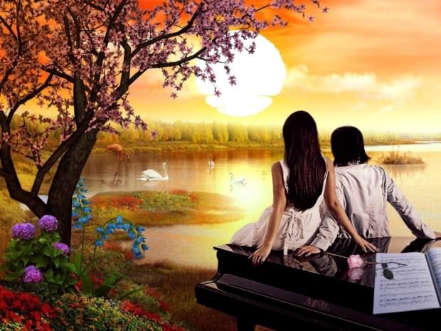 beautiful romantic couples love painting