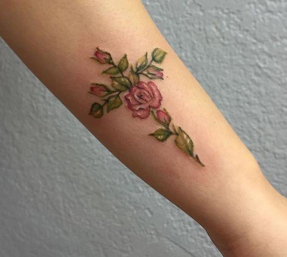 floral cross tattoo