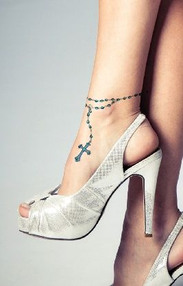 rosary tattoo on ankle