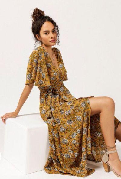 CasualWildflower Wrap Maxi Dress