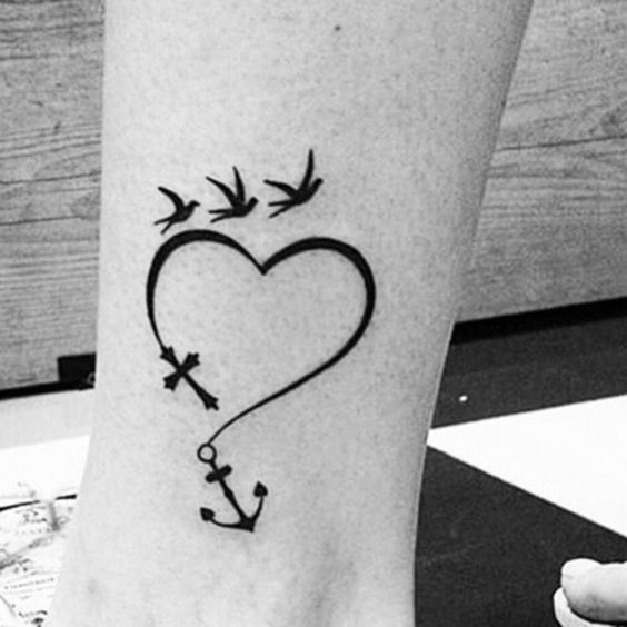 free spirit heart anchor and birds tattoo