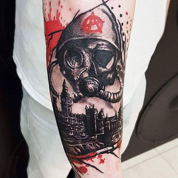 Political trash polka tattoo on forearm