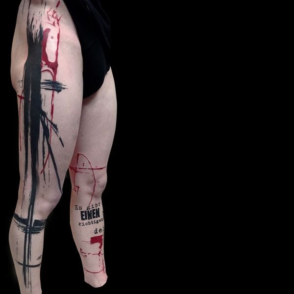Trash Polka Tattoo Design on Legs