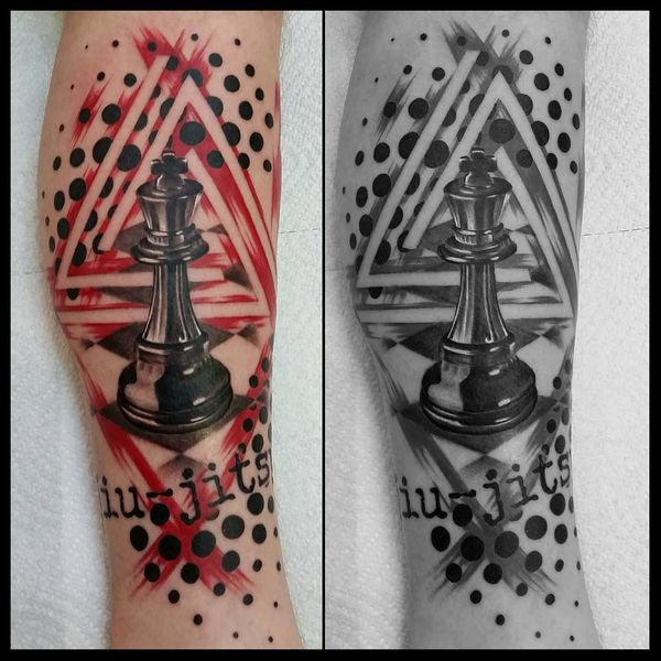 black and red polka trash chess piece tattoo on calf