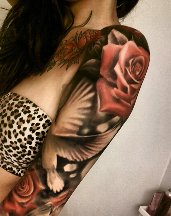 dove and rose full sleeve tattoo for women