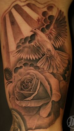 large dove and rose tattoo design picture