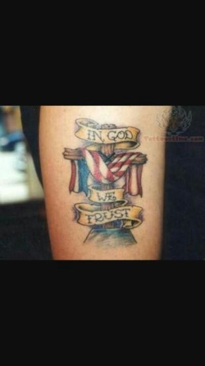 in god we trust tattoo with cross and american flag