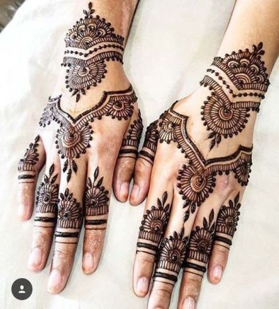 arabic-pakistani mehndi design pattern for back hand on eid