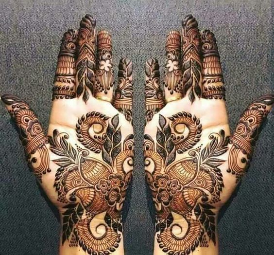 latest floral mehndi design pattern on front hands for eid