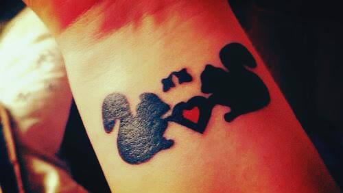 Squirrels in Love Wrist Tattoo