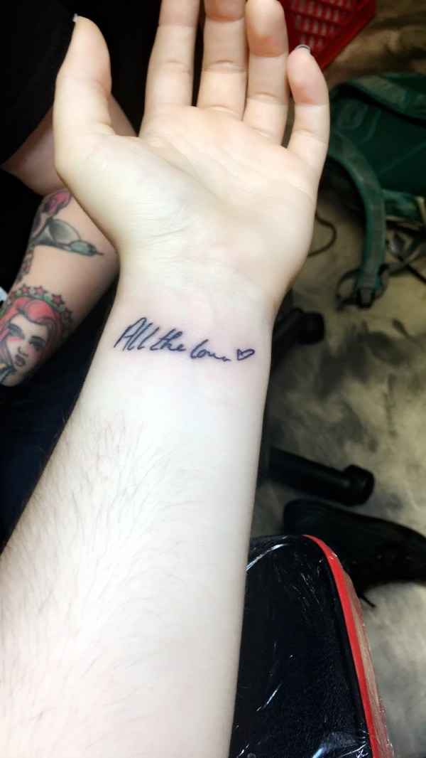 all the love tattoo on wrist