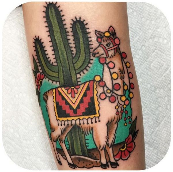 camel and cactus traditional tattoos