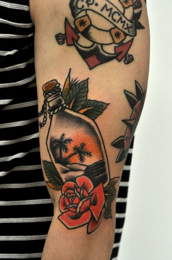 desert bottle with roses traditional tattoo symbols