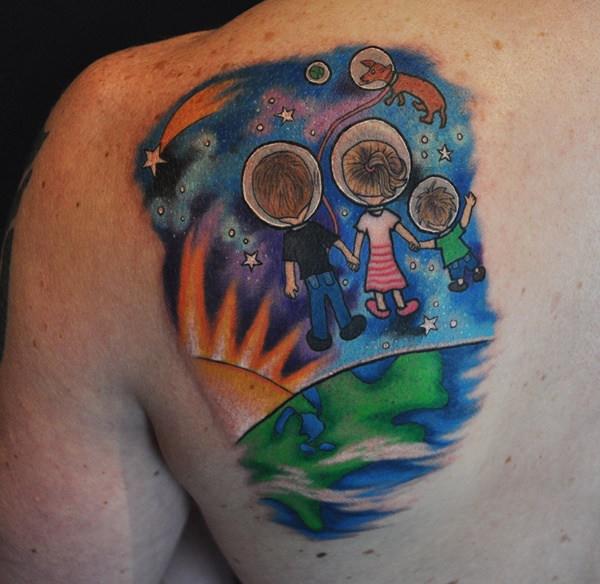 family galaxy tattoo design