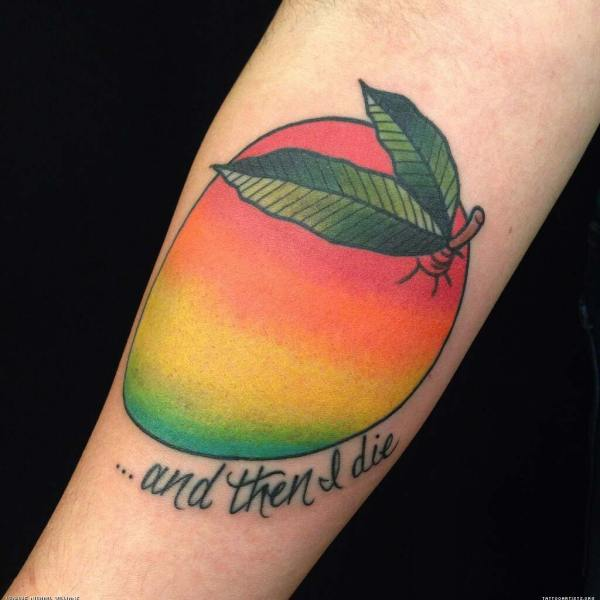 colorful-mango-tattoo-design-with-lettering