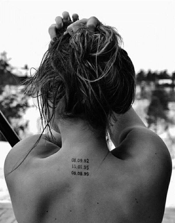 coordinate tattoo on back neck for women