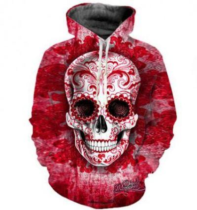 horror 3d sugar skull halloween hoodie for men