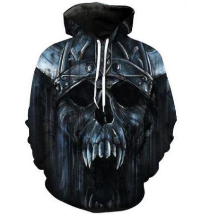 horror skull face 3d hoodie for halloween