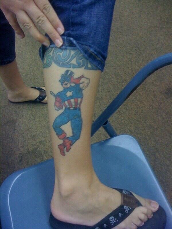 animated comic hero captain america tattoo on leg