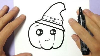 how to draw diy cute halloween pumpkin on paper