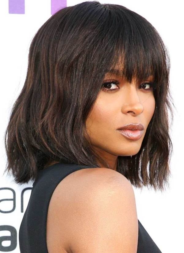 long bangs inverted bob hairstyles for black women