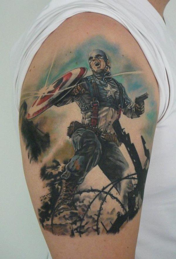 the avengers captain america tattoo on upper sleeve for men